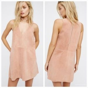 Pale Pink Free People Retro Love Suede Mini Dress